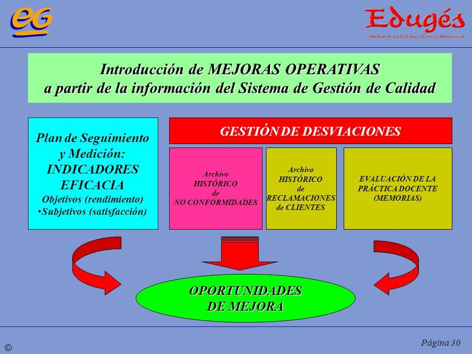 © Página 30 Introducción de MEJORAS OPERATIVAS a partir de la información del Sistema de Gestión de Calidad Plan de Seguimiento y Medición: INDICADORE