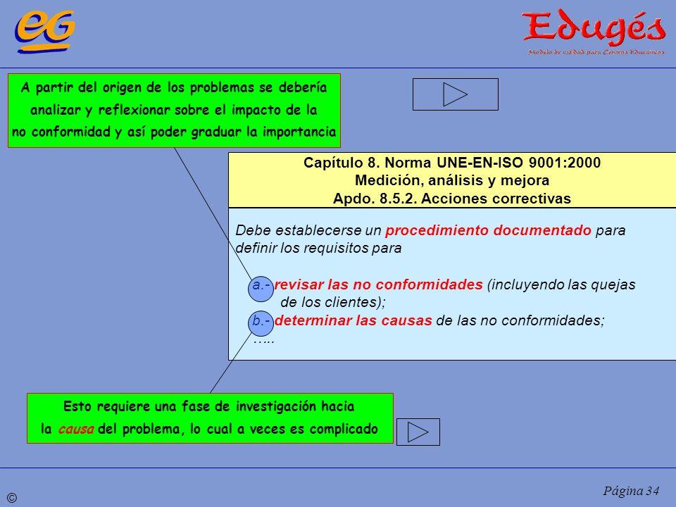 © Página 34 Capítulo 8. Norma UNE-EN-ISO 9001:2000 Medición, análisis y mejora Apdo. 8.5.2. Acciones correctivas Debe establecerse un procedimiento do