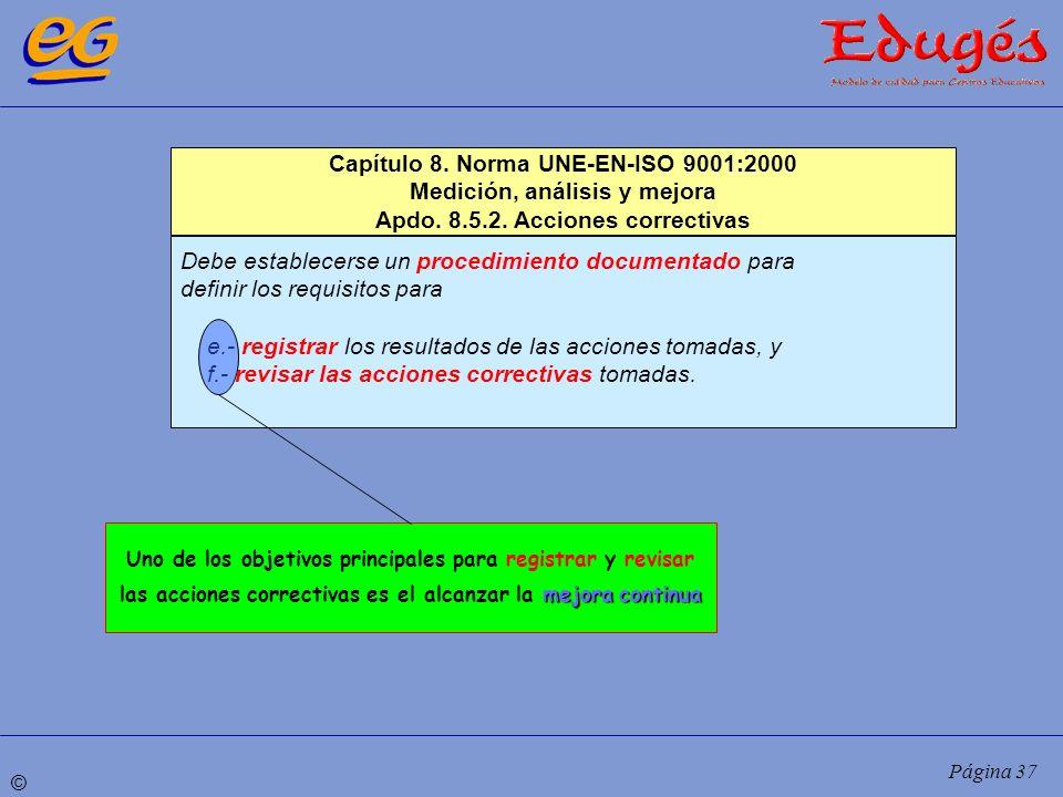 © Página 37 Capítulo 8. Norma UNE-EN-ISO 9001:2000 Medición, análisis y mejora Apdo. 8.5.2. Acciones correctivas Debe establecerse un procedimiento do