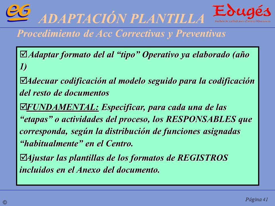 © Página 41 Adaptar formato del al tipo Operativo ya elaborado (año 1) Adaptar formato del al tipo Operativo ya elaborado (año 1) Adecuar codificación