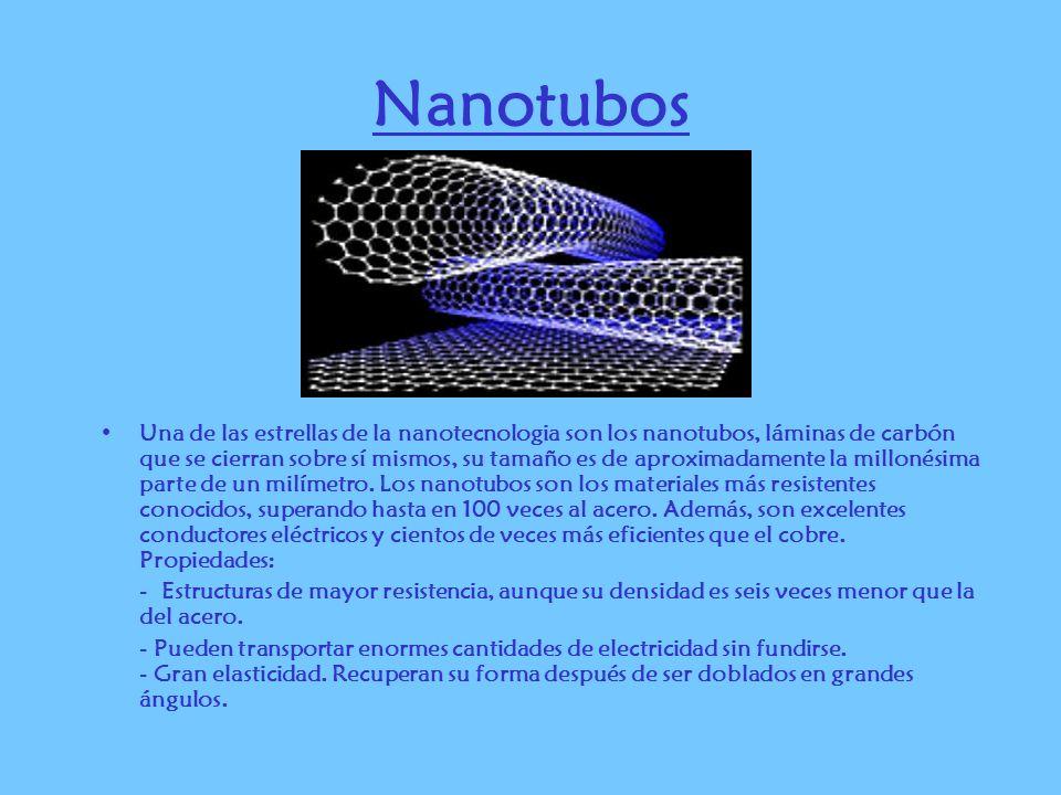 Nanotubos Una de las estrellas de la nanotecnologia son los nanotubos, láminas de carbón que se cierran sobre sí mismos, su tamaño es de aproximadamen