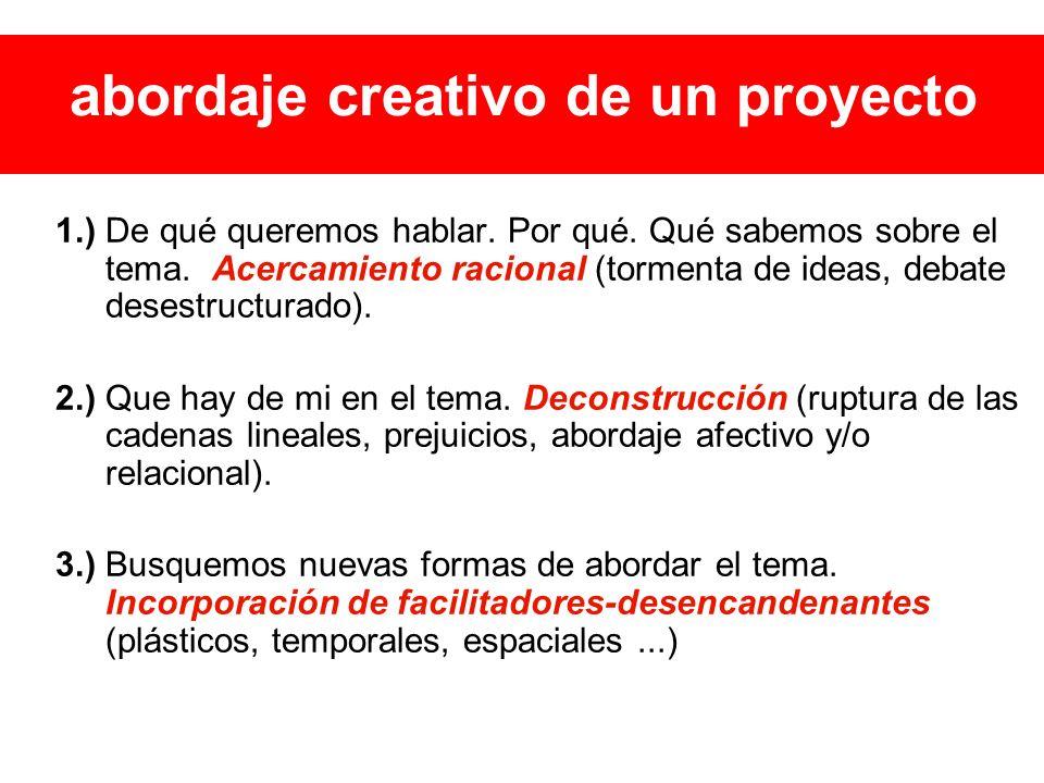 abordaje creativo de un proyecto 1.) De qué queremos hablar.