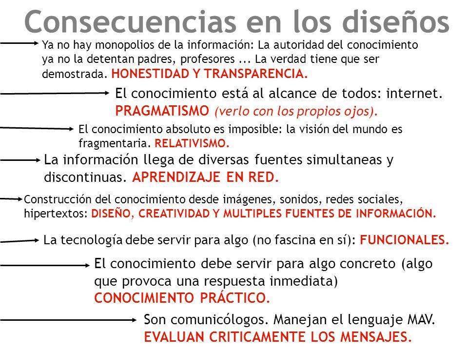 Consecuencias en los diseños Ya no hay monopolios de la información: La autoridad del conocimiento ya no la detentan padres, profesores... La verdad t
