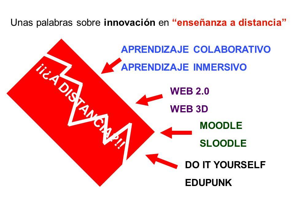Unas palabras sobre innovación en enseñanza a distancia ¡¡¿A DISTANCIA?!! APRENDIZAJE COLABORATIVO APRENDIZAJE INMERSIVO WEB 2.0 WEB 3D MOODLE SLOODLE