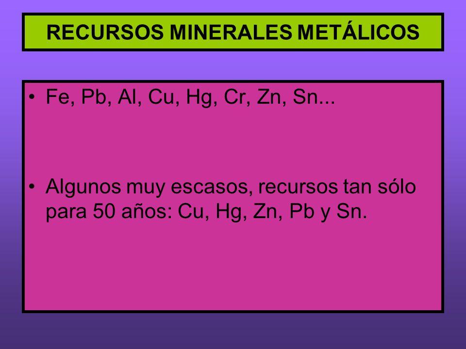 RECURSOS MINERALES METÁLICOS Fe, Pb, Al, Cu, Hg, Cr, Zn, Sn... Algunos muy escasos, recursos tan sólo para 50 años: Cu, Hg, Zn, Pb y Sn.