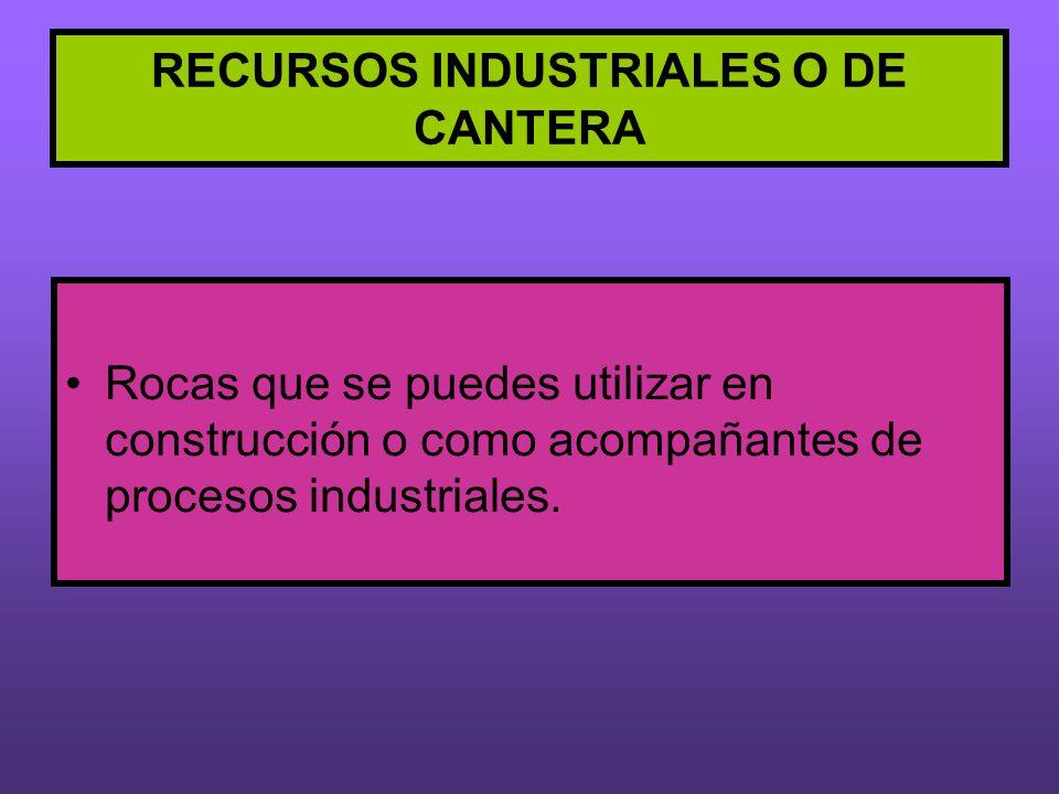 RECURSOS INDUSTRIALES O DE CANTERA Rocas que se puedes utilizar en construcción o como acompañantes de procesos industriales.