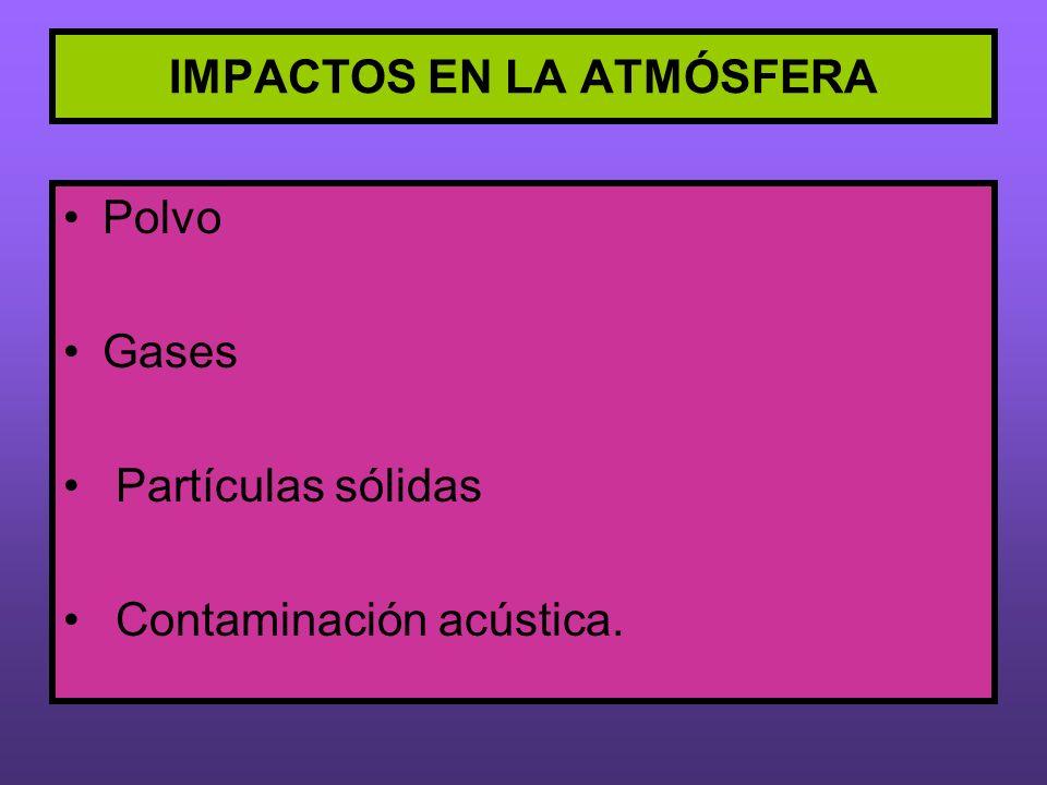 IMPACTOS EN LA ATMÓSFERA Polvo Gases Partículas sólidas Contaminación acústica.