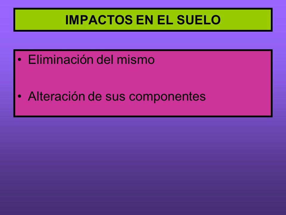 IMPACTOS EN EL SUELO Eliminación del mismo Alteración de sus componentes