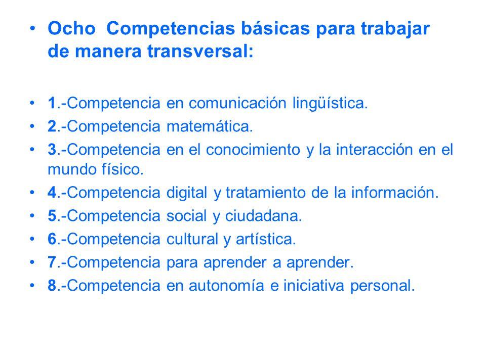 Ocho Competencias básicas para trabajar de manera transversal: 1.-Competencia en comunicación lingüística. 2.-Competencia matemática. 3.-Competencia e