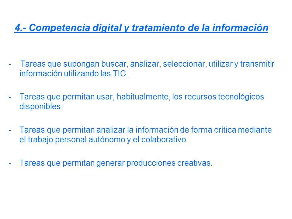 4.- Competencia digital y tratamiento de la información - Tareas que supongan buscar, analizar, seleccionar, utilizar y transmitir información utiliza