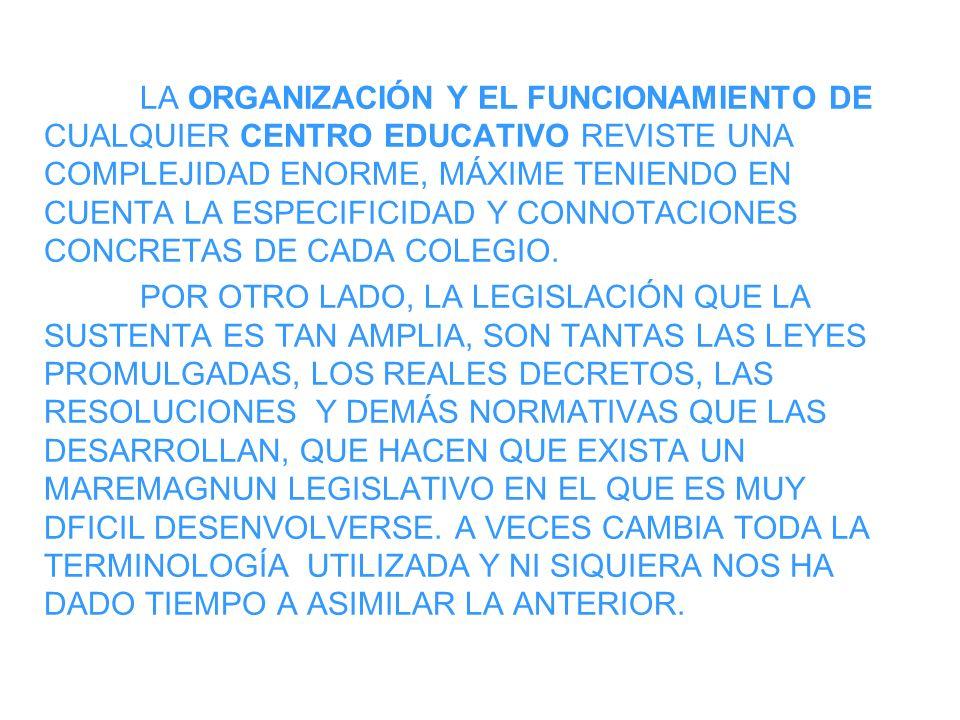 LA ORGANIZACIÓN Y EL FUNCIONAMIENTO DE CUALQUIER CENTRO EDUCATIVO REVISTE UNA COMPLEJIDAD ENORME, MÁXIME TENIENDO EN CUENTA LA ESPECIFICIDAD Y CONNOTA