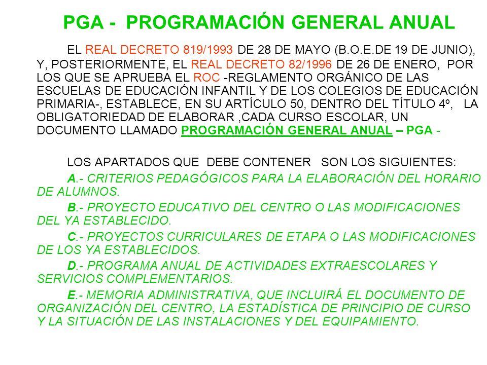 PGA - PROGRAMACIÓN GENERAL ANUAL EL REAL DECRETO 819/1993 DE 28 DE MAYO (B.O.E.DE 19 DE JUNIO), Y, POSTERIORMENTE, EL REAL DECRETO 82/1996 DE 26 DE EN