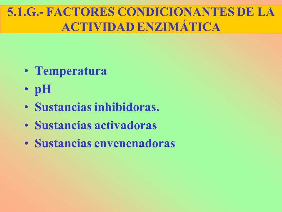 Temperatura pH Sustancias inhibidoras. Sustancias activadoras Sustancias envenenadoras 5.1.G.- FACTORES CONDICIONANTES DE LA ACTIVIDAD ENZIMÁTICA