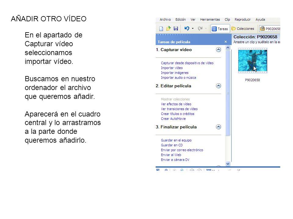 En el apartado de Capturar vídeo seleccionamos importar vídeo.
