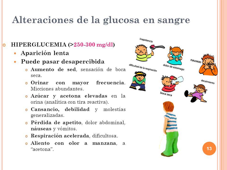 13 Alteraciones de la glucosa en sangre HIPERGLUCEMIA (>250-300 mg/dl) Aparición lenta Puede pasar desapercibida Aumento de sed, sensación de boca sec