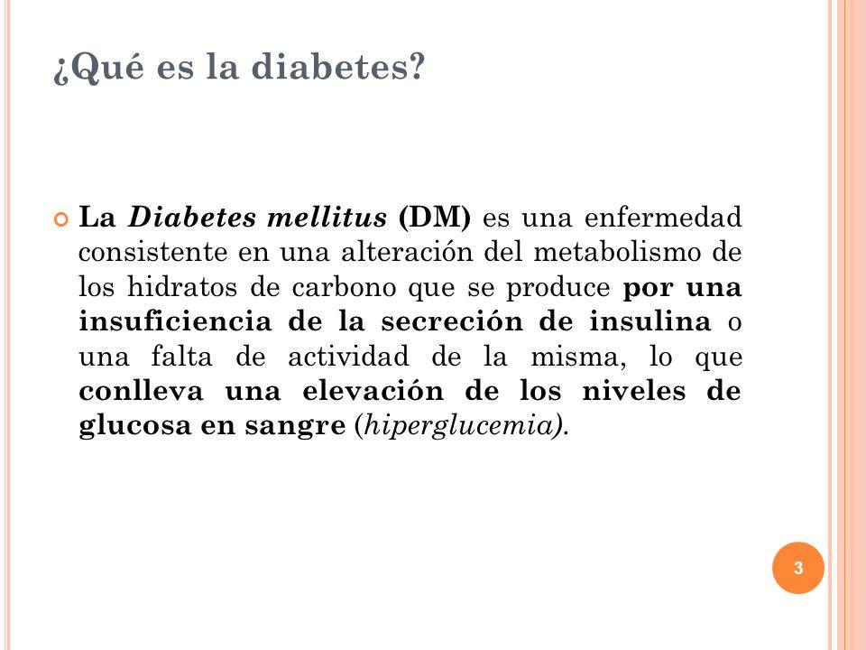 3 ¿Qué es la diabetes? La Diabetes mellitus (DM) es una enfermedad consistente en una alteración del metabolismo de los hidratos de carbono que se pro