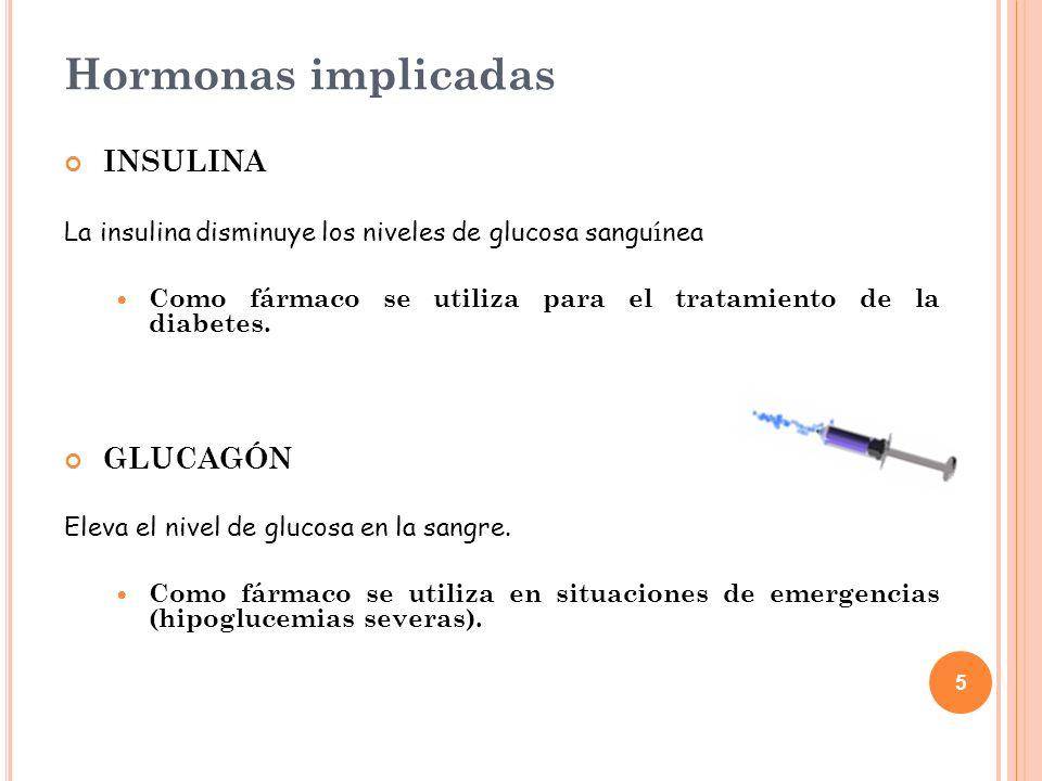 5 Hormonas implicadas INSULINA La insulina disminuye los niveles de glucosa sangu í nea Como fármaco se utiliza para el tratamiento de la diabetes. GL