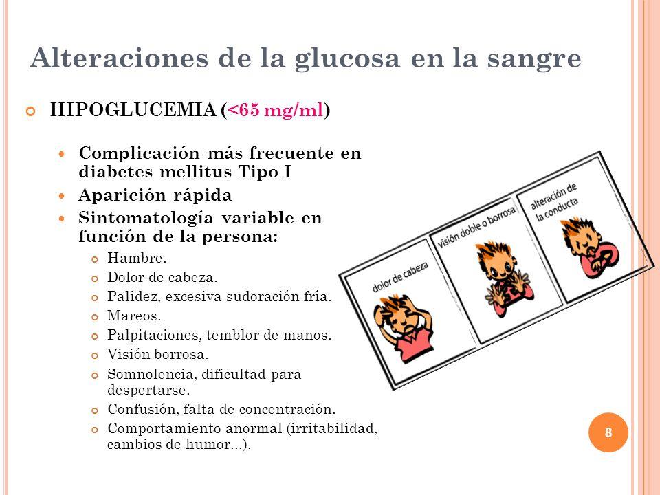 8 Alteraciones de la glucosa en la sangre HIPOGLUCEMIA (<65 mg/ml) Complicación más frecuente en diabetes mellitus Tipo I Aparición rápida Sintomatolo