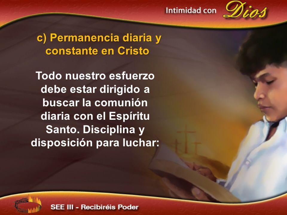 Todo nuestro esfuerzo debe estar dirigido a buscar la comunión diaria con el Espíritu Santo. Disciplina y disposición para luchar: c) Permanencia diar