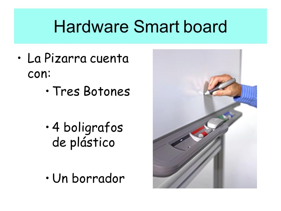 Hardware Smart board La Pizarra cuenta con: Tres Botones 4 boligrafos de plástico Un borrador