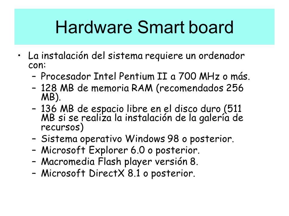 Hardware Smart board La instalación del sistema requiere un ordenador con: –Procesador Intel Pentium II a 700 MHz o más. –128 MB de memoria RAM (recom