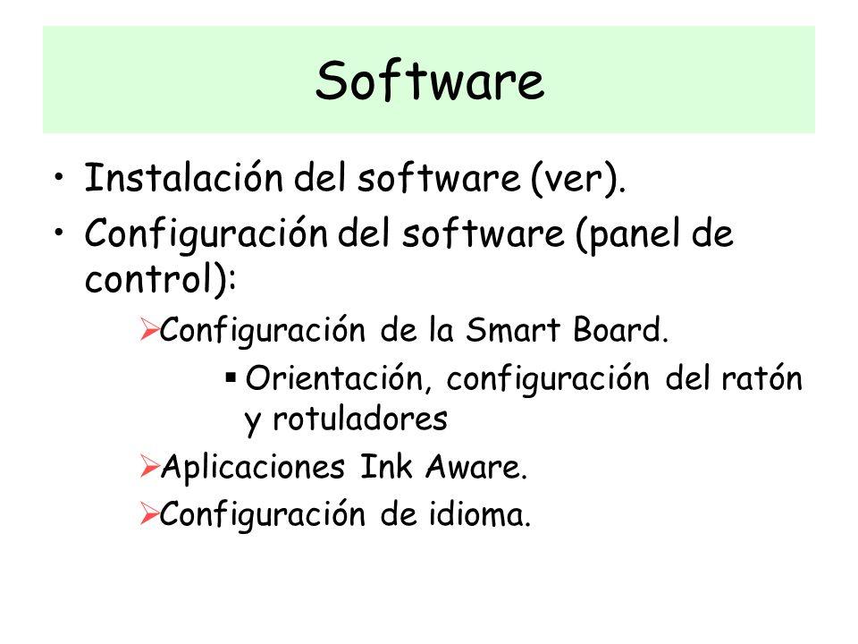Instalación del software (ver). Configuración del software (panel de control): Configuración de la Smart Board. Orientación, configuración del ratón y