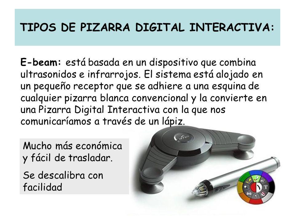 TIPOS DE PIZARRA DIGITAL INTERACTIVA: E-beam: está basada en un dispositivo que combina ultrasonidos e infrarrojos. El sistema está alojado en un pequ