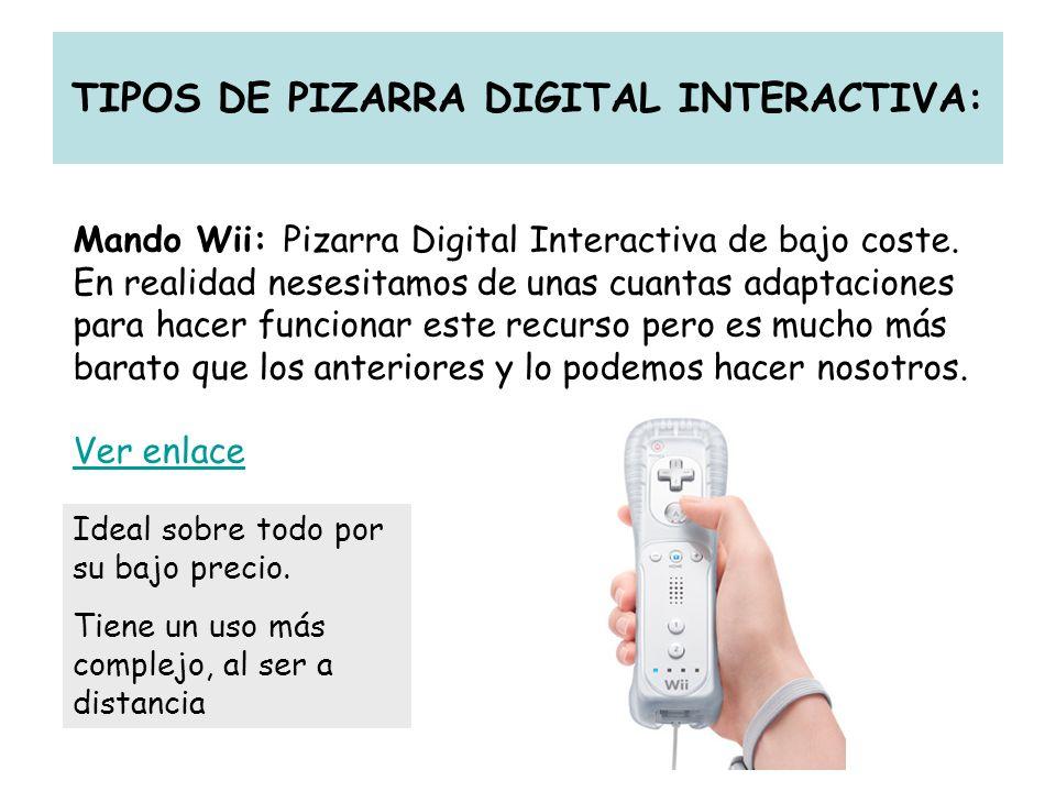 TIPOS DE PIZARRA DIGITAL INTERACTIVA: Mando Wii: Pizarra Digital Interactiva de bajo coste. En realidad nesesitamos de unas cuantas adaptaciones para