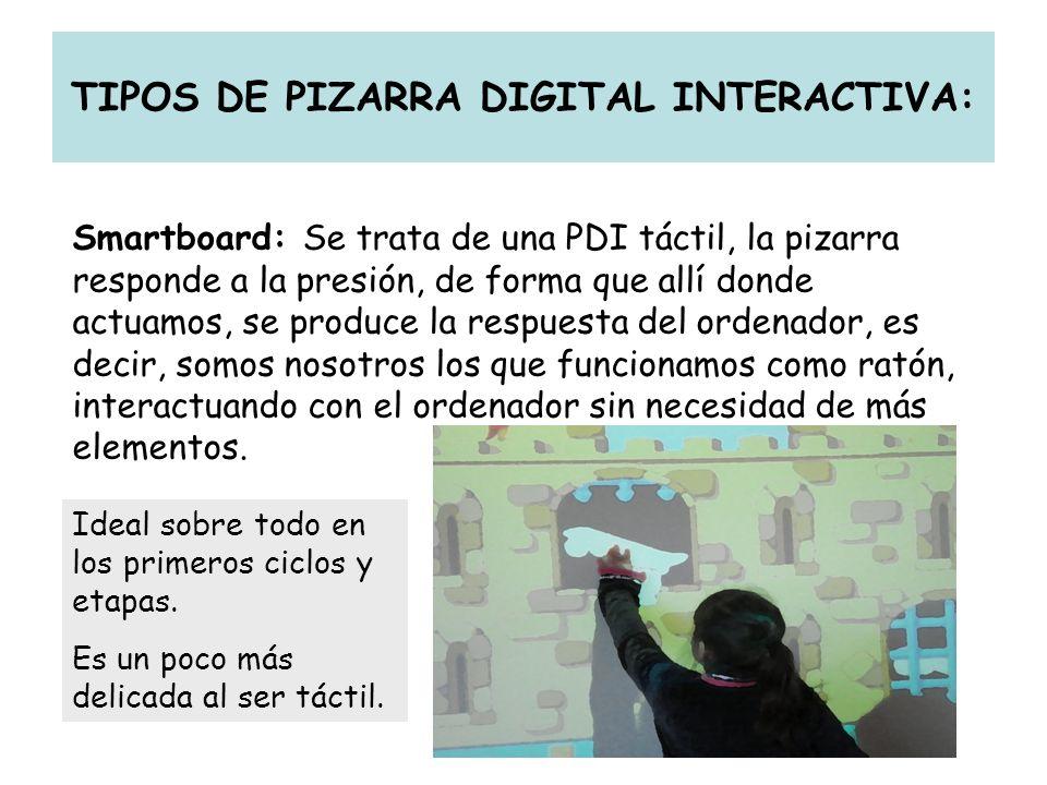 TIPOS DE PIZARRA DIGITAL INTERACTIVA: Smartboard: Se trata de una PDI táctil, la pizarra responde a la presión, de forma que allí donde actuamos, se p