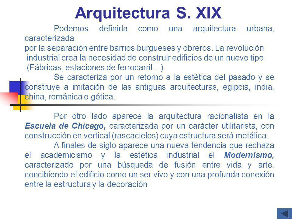 Arquitectura S. XIX Podemos definirla como una arquitectura urbana, caracterizada por la separación entre barrios burgueses y obreros. La revolución i
