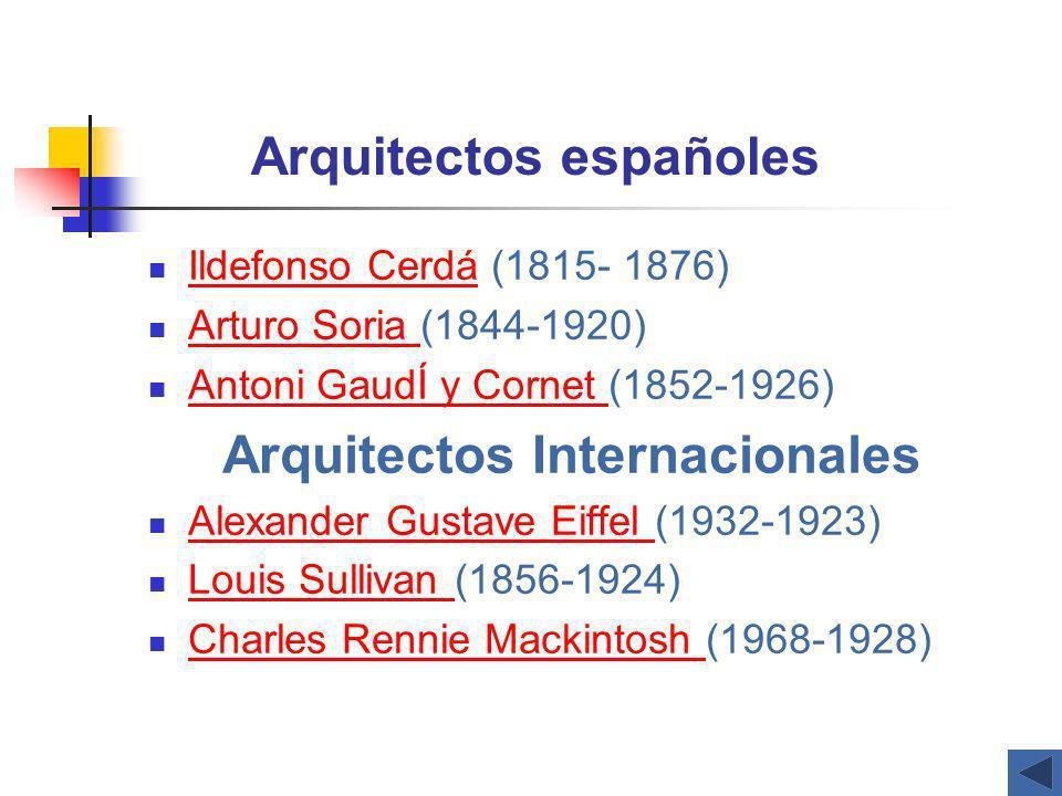 Arquitectos españoles Ildefonso Cerdá (1815- 1876) Ildefonso Cerdá Arturo Soria (1844-1920) Arturo Soria Antoni GaudÍ y Cornet (1852-1926) Antoni Gaud