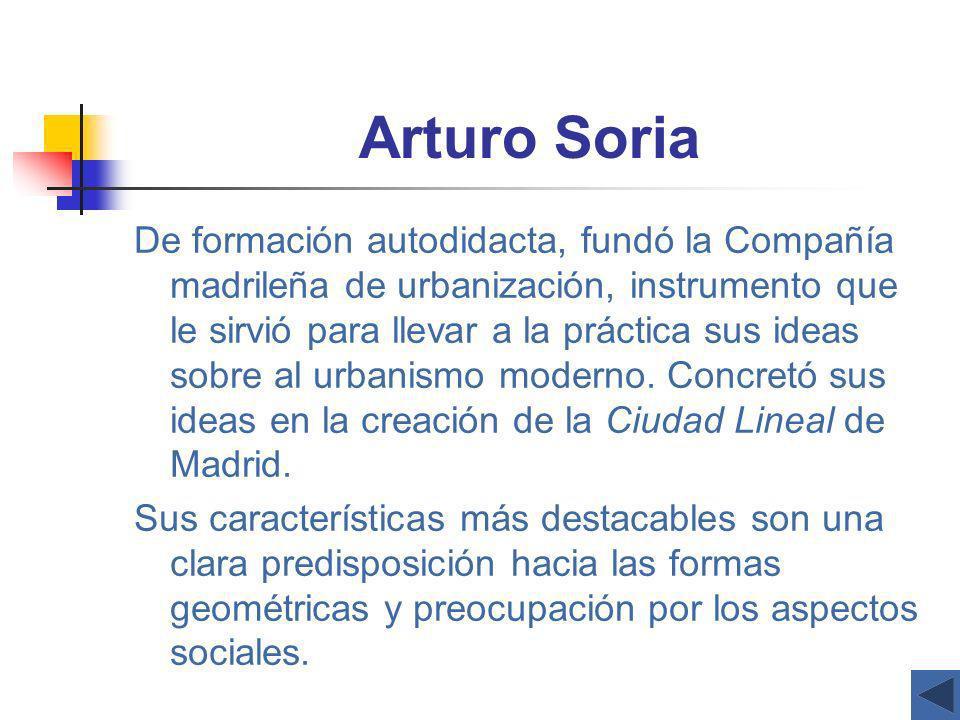 Arturo Soria De formación autodidacta, fundó la Compañía madrileña de urbanización, instrumento que le sirvió para llevar a la práctica sus ideas sobr