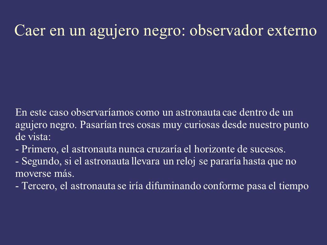 Caer en un agujero negro: observador externo En este caso observaríamos como un astronauta cae dentro de un agujero negro. Pasarían tres cosas muy cur