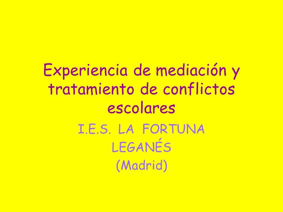 Experiencia de mediación y tratamiento de conflictos escolares I.E.S. LA FORTUNA LEGANÉS (Madrid)
