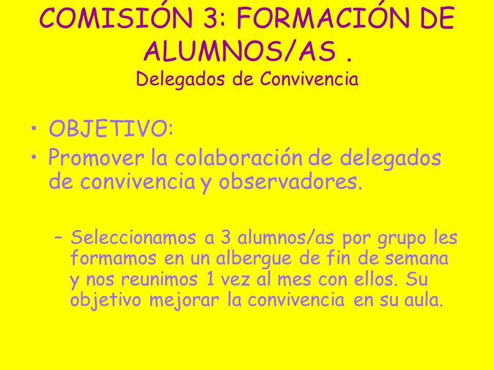 COMISIÓN 3: FORMACIÓN DE ALUMNOS/AS. Delegados de Convivencia OBJETIVO: Promover la colaboración de delegados de convivencia y observadores. –Seleccio