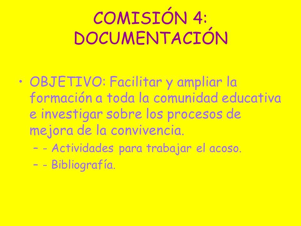 COMISIÓN 4: DOCUMENTACIÓN OBJETIVO: Facilitar y ampliar la formación a toda la comunidad educativa e investigar sobre los procesos de mejora de la con
