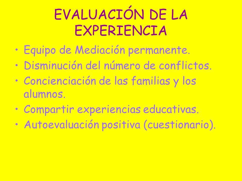 EVALUACIÓN DE LA EXPERIENCIA Equipo de Mediación permanente. Disminución del número de conflictos. Concienciación de las familias y los alumnos. Compa