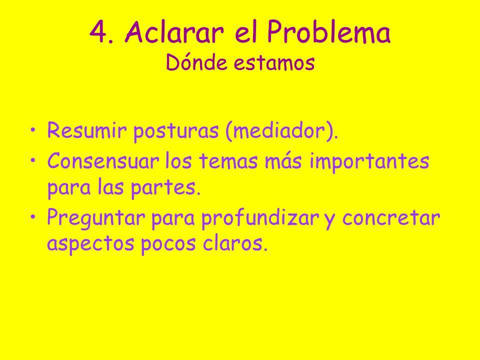 4. Aclarar el Problema Dónde estamos Resumir posturas (mediador). Consensuar los temas más importantes para las partes. Preguntar para profundizar y c