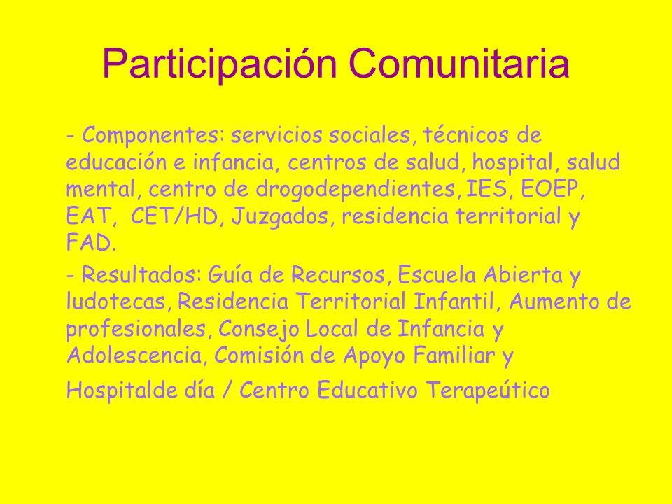 Participación Comunitaria - Componentes: servicios sociales, técnicos de educación e infancia, centros de salud, hospital, salud mental, centro de dro