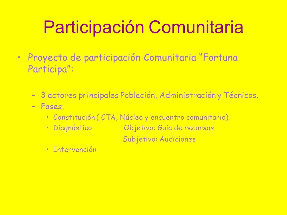 Participación Comunitaria Proyecto de participación Comunitaria Fortuna Participa: –3 actores principales Población, Administración y Técnicos. –Fases