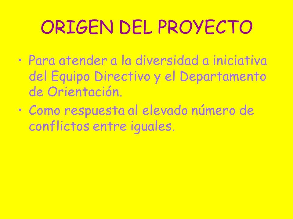 ORIGEN DEL PROYECTO Para atender a la diversidad a iniciativa del Equipo Directivo y el Departamento de Orientación. Como respuesta al elevado número