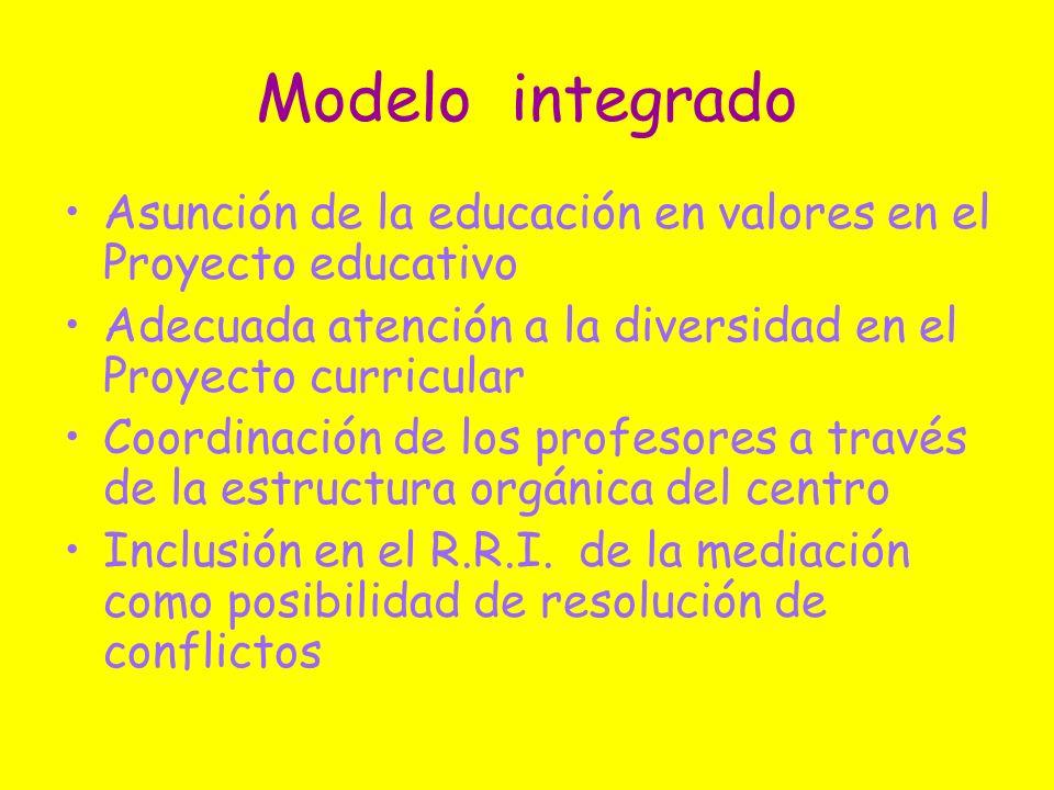 Modelo integrado Asunción de la educación en valores en el Proyecto educativo Adecuada atención a la diversidad en el Proyecto curricular Coordinación
