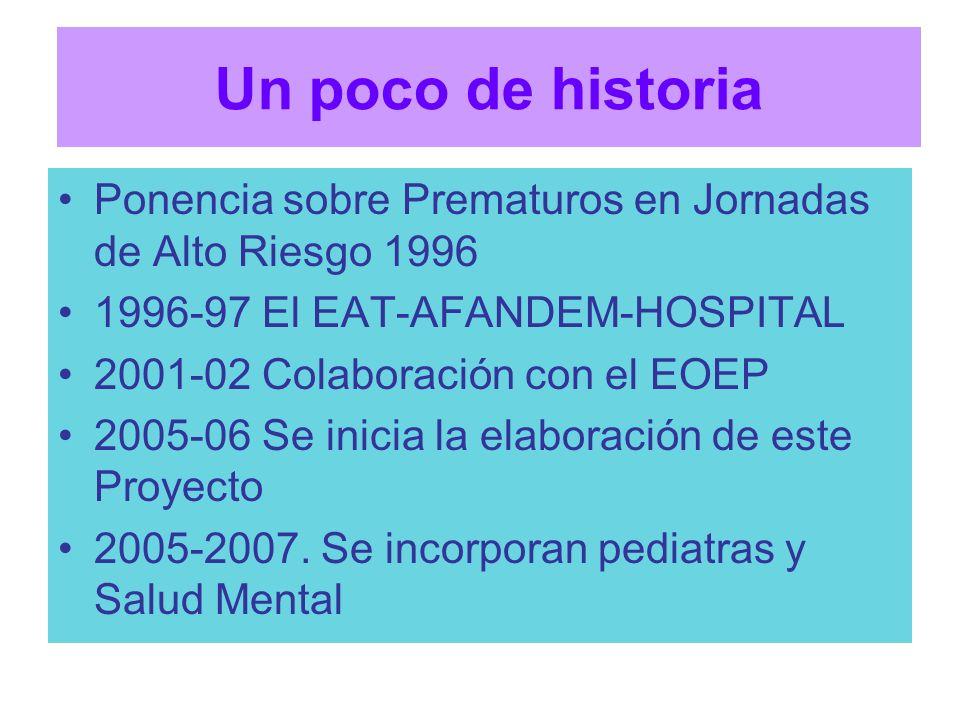 Un poco de historia Ponencia sobre Prematuros en Jornadas de Alto Riesgo 1996 1996-97 El EAT-AFANDEM-HOSPITAL 2001-02 Colaboración con el EOEP 2005-06