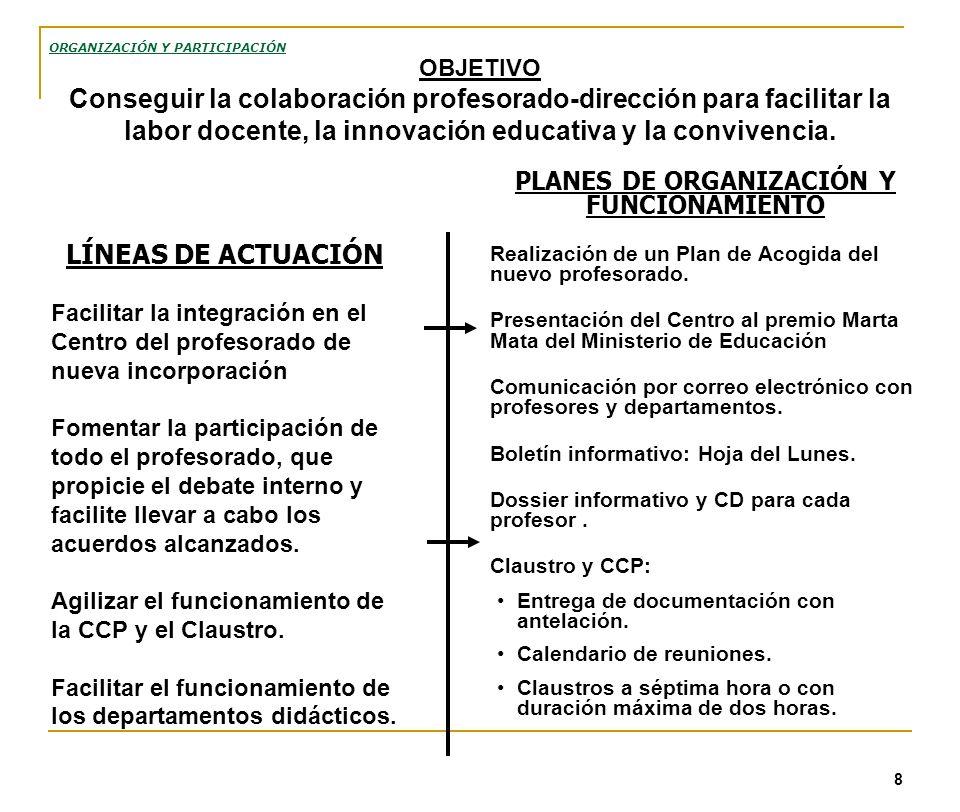 8 PLANES DE ORGANIZACIÓN Y FUNCIONAMIENTO Realización de un Plan de Acogida del nuevo profesorado. Presentación del Centro al premio Marta Mata del Mi