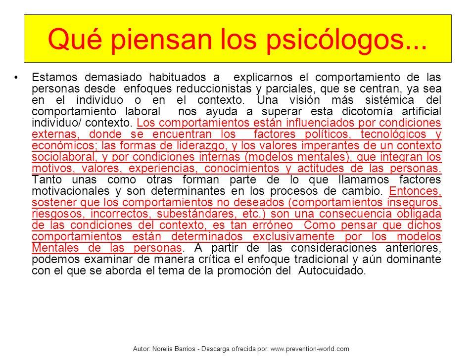 Autor: Norelis Barrios - Descarga ofrecida por: www.prevention-world.com Qué piensan los psicólogos... Estamos demasiado habituados a explicarnos el c