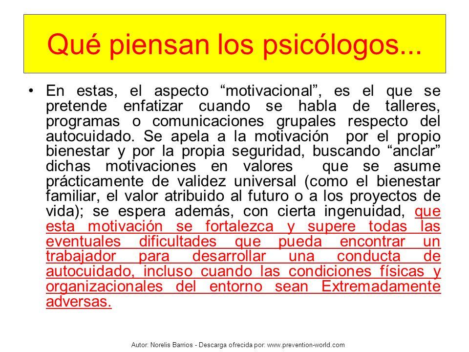 Autor: Norelis Barrios - Descarga ofrecida por: www.prevention-world.com En estas, el aspecto motivacional, es el que se pretende enfatizar cuando se