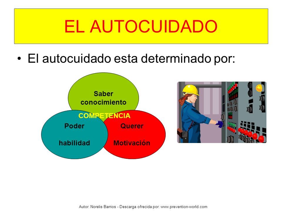 Autor: Norelis Barrios - Descarga ofrecida por: www.prevention-world.com EL AUTOCUIDADO El autocuidado esta determinado por: Saber conocimiento Querer
