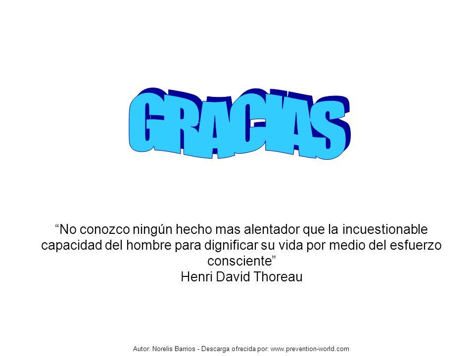 Autor: Norelis Barrios - Descarga ofrecida por: www.prevention-world.com No conozco ningún hecho mas alentador que la incuestionable capacidad del hom