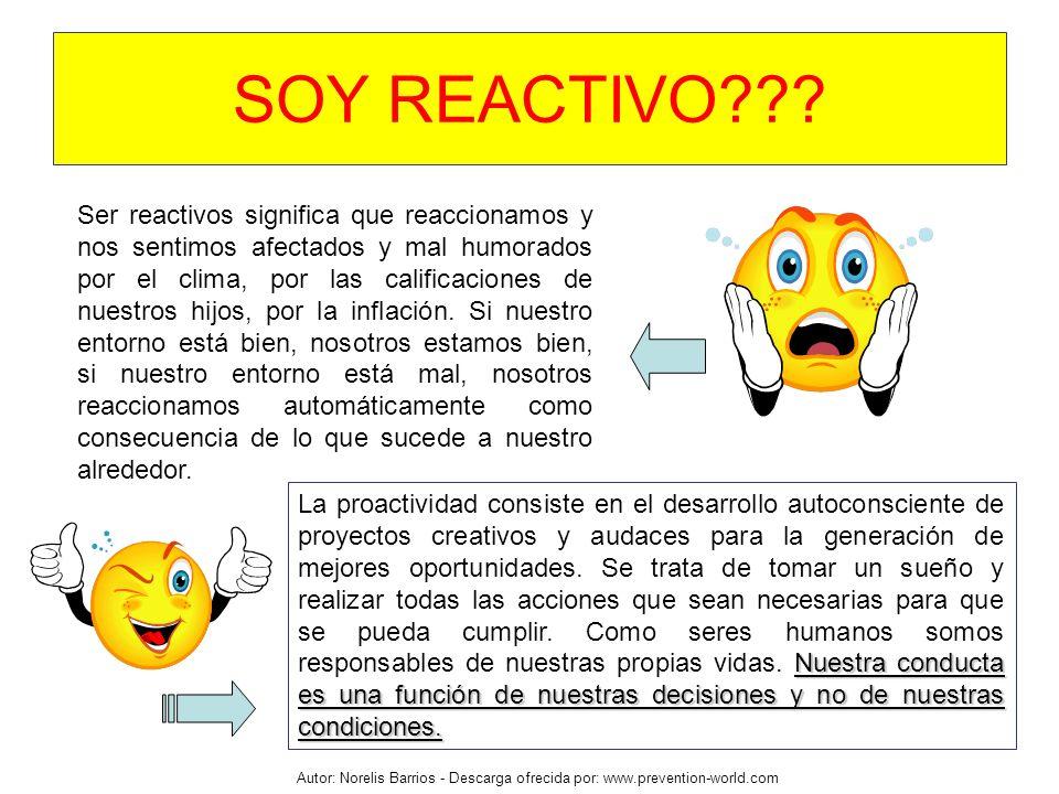 Autor: Norelis Barrios - Descarga ofrecida por: www.prevention-world.com Ser reactivos significa que reaccionamos y nos sentimos afectados y mal humor