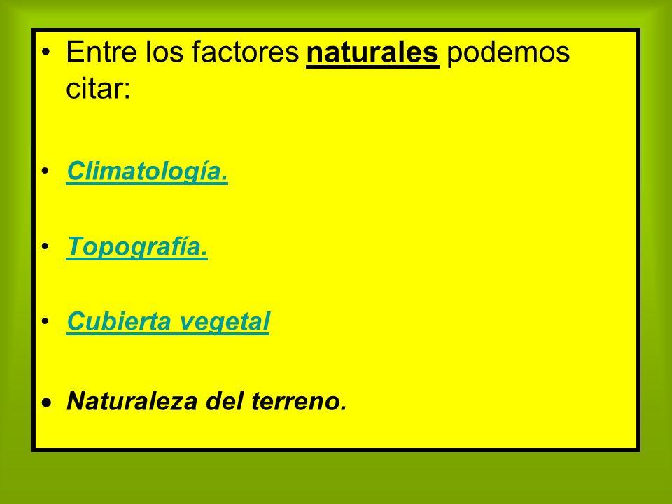 Entre los factores naturales podemos citar: Climatología. Topografía. Cubierta vegetal Naturaleza del terreno.